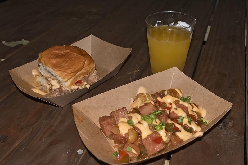 Hawaii: Kalua Pork Slider and Teriyaki-glazed SPAM Hash
