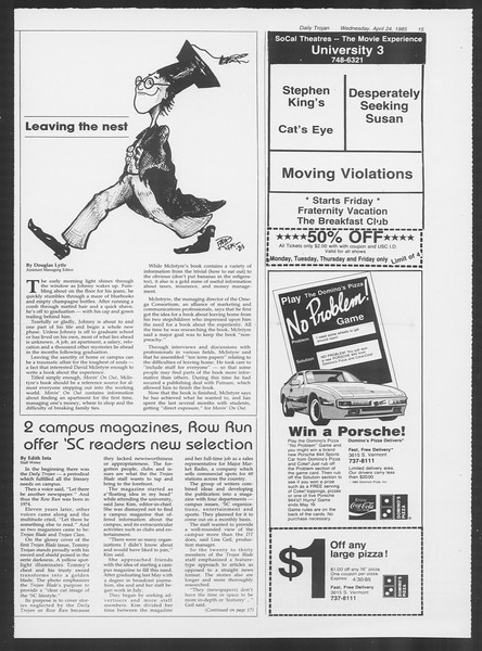 Daily Trojan, Vol. 98, No. 66, April 24, 1985