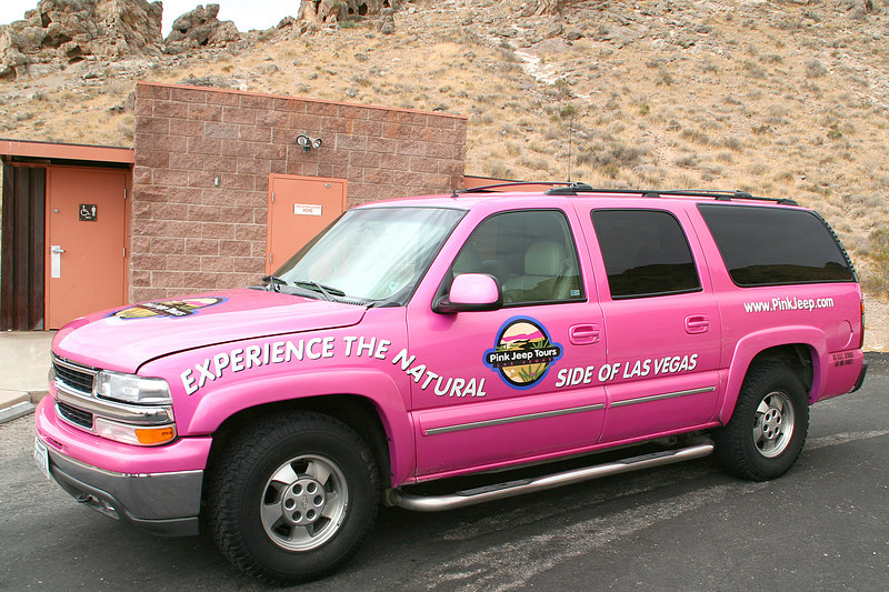 Near the entrance to the Valley of Fire, we spotted this pink jeep tour vehicle.