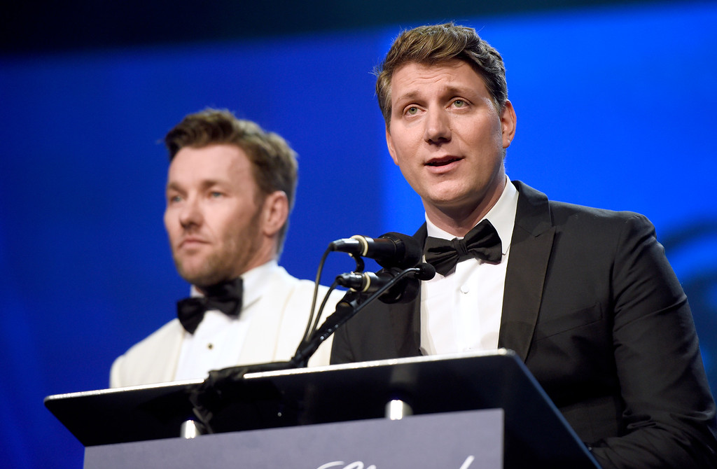 ". Joel Edgerton, left, and Jeff Nichols present the award for rising star to Ruth Negga for ""Loving\"" at the 28th annual Palm Springs International Film Festival Awards Gala on Monday, Jan. 2, 2017, in Palm Springs, Calif. (Photo by Chris Pizzello/Invision/AP)"