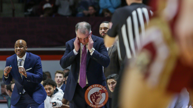 Virginia Tech head coach Mike Young rubs his temples after a foul call against his team in the first half. (Mark Umansky/TheKeyPlay.com)