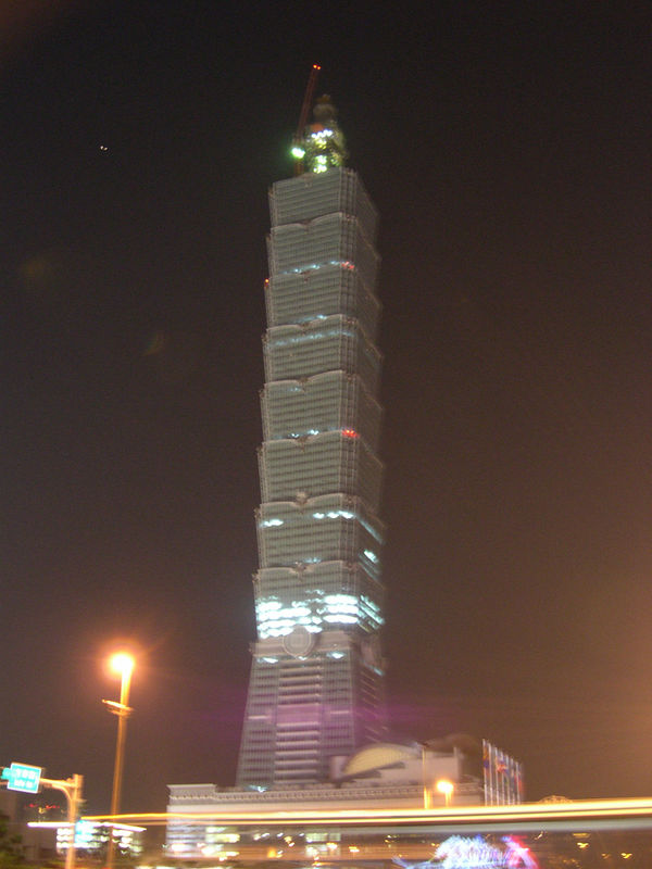 Taipei 101, crowned as the World's Tallest Building in September 2003.  Note the crane superstructure still attached to the top of the building.