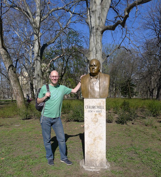 Dave Ross and Churchill Bust