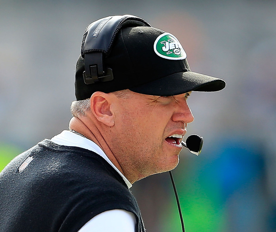 . JACKSONVILLE, FL - DECEMBER 09:  Head coach Rex Ryan of the New York Jets watches the action during the game against the Jacksonville Jaguars at EverBank Field on December 9, 2012 in Jacksonville, Florida.  (Photo by Sam Greenwood/Getty Images)