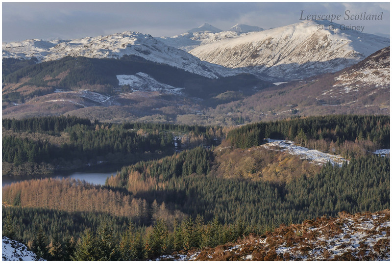 the Trossachs in winter, from Beinn Dearg in the Menteith Hills