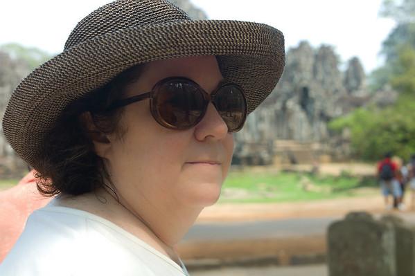 """Renee Mirsky at Angkor Thom (literally: """"Great City"""")."""