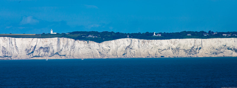 The white cliffs of Dover, England, seen from a ferry headed to France.