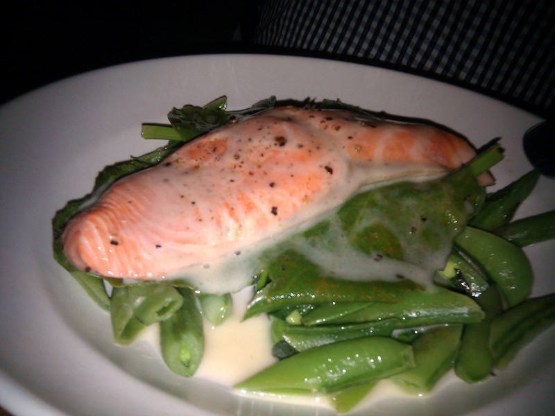 Contigo - Alaskan King Salmon Roasted on a Fig Leaf (with Snap Peas and Cava Butter Sauce)