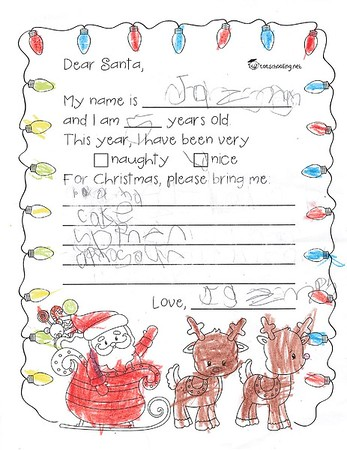 Ms. Benner's Kindergarten Letters to Santa, 12/13/2019