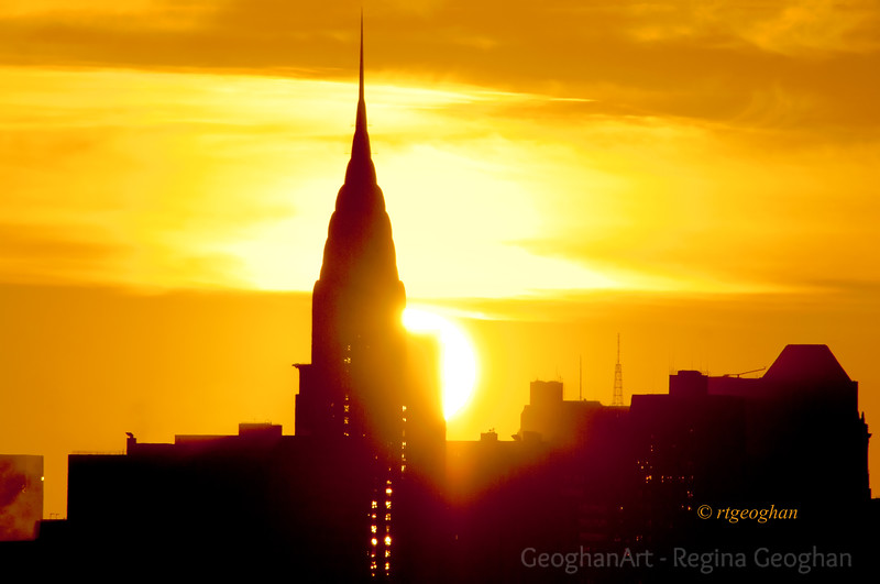 Day 291: NY Skyline Sunrise -Chrysler Building - Oct 17.  Can't resist these big, bright sunrise days.