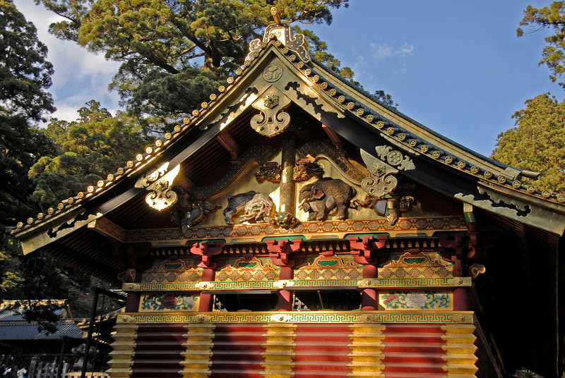Classic Japanese architecture at facade of Nikkō Tōshō-gū in Nikko, Japan