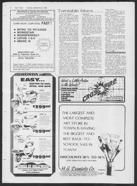 Daily Trojan, Vol. 102, No. 6, September 09, 1986
