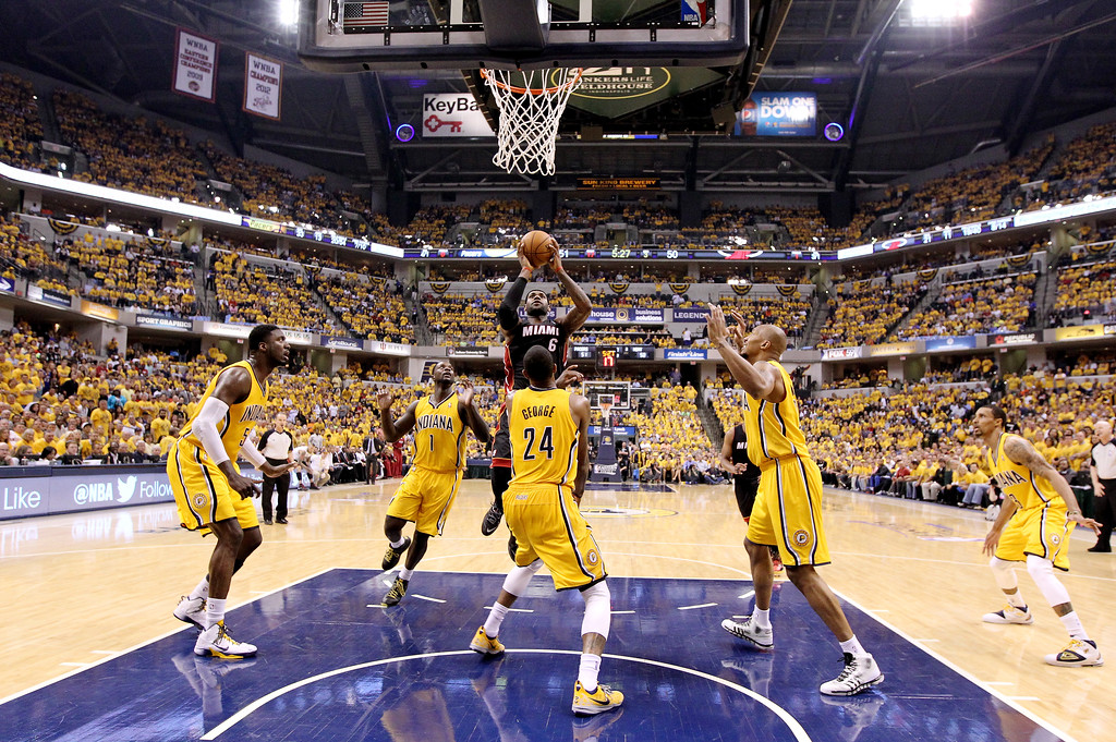 . INDIANAPOLIS, IN - MAY 20: LeBron James #6 of the Miami Heat goes to the basket against the Indiana Pacers during Game Two of the Eastern Conference Finals of the 2014 NBA Playoffs at at Bankers Life Fieldhouse on May 20, 2014 in Indianapolis, Indiana.   (Photo by Andy Lyons/Getty Images)