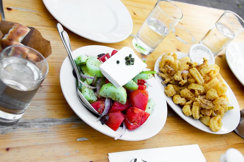 Greek Salad and Calamari