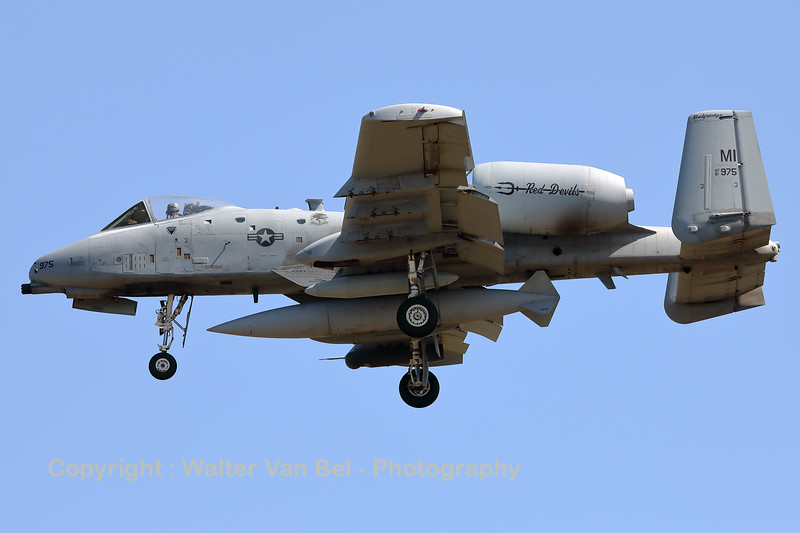 """A USAF A-10C Thunderbolt II (81-0975; cnA10-0670) is seen here on final for RWY05 at ETAD. This A-10C belongs to the 107th Fighter Squadron """"Red Devils"""", which is a unit of the Michigan Air National Guard 127th Wing. It is assigned to Selfridge Air National Guard Base, Michigan."""