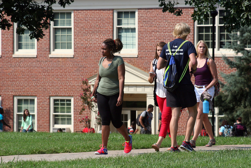 Students walking to class on the campus of Gardner-Webb University on a fall day.
