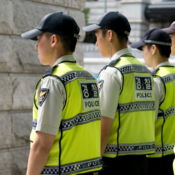 Police officers in row, Seoul, South Korea