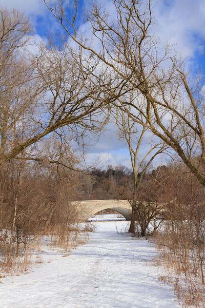 Old MIll Bridge In Winter