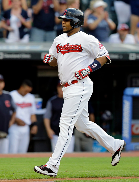 . Cleveland Indians\' Edwin Encarnacion runs the bases after hitting a solo home run off Toronto Blue Jays starting pitcher Marco Estrada during the second inning of a baseball game, Friday, July 21, 2017, in Cleveland. (AP Photo/Tony Dejak)