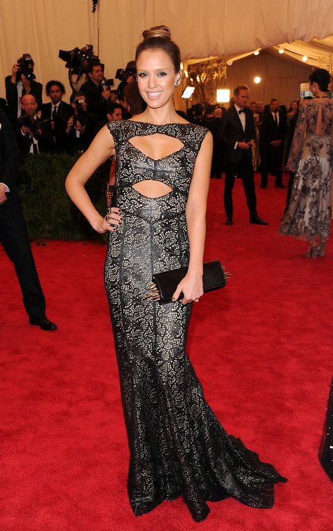 """. Jessica Alba attends The Metropolitan Museum of Art\'s Costume Institute benefit celebrating \""""PUNK: Chaos to Couture\"""" on Monday, May 6, 2013 in New York. (Photo by Evan Agostini/Invision/AP)"""