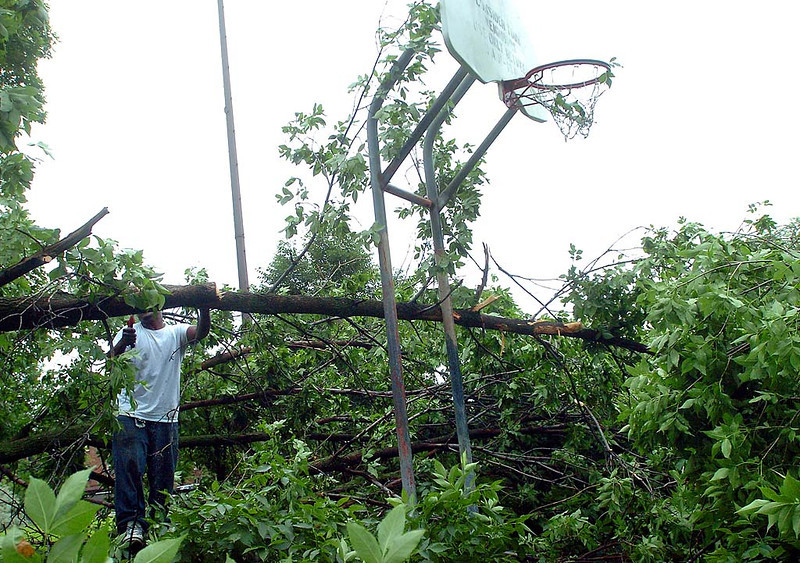 . Minneapolis Parks and Recreation department employee Boyer Newton works to clear  a downed tree from the basketball court at Painter Park in Minneapolis on Saturday morning. The tree was uprooted by a fast-moving storm that came through the area Friday evening. Newton said he was doing some small trimming in advance of the city forestry crews, who would cut up the trunk of the tree. (Pioneer Press: Neal Lambert)