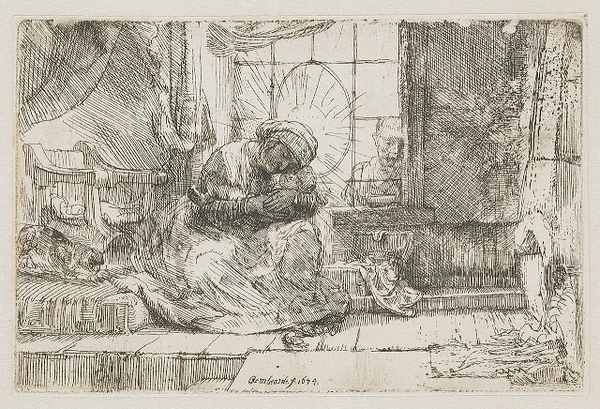 1654 Rembrandt van Rijn The Virgin and the Child with the Cat and Snake etching on paper 9.5 x 14.5 cm Rijksmuseum, Amsterdam.jpg
