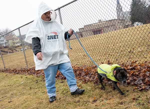 02/11/20 Wesley Bunnell | StaffrrTim Stroy and his American Bulldog Penelope talk a walk in the rain on Worthington St on Tuesday afternoon.