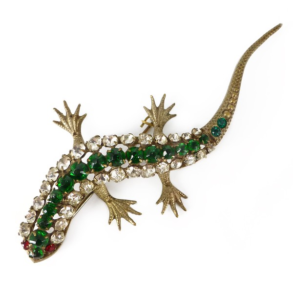 Antique Art Deco Metal Paste Green Glass Lizard Brooch