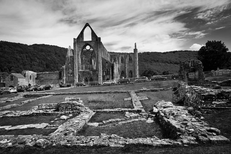 Tintern Abbey, Gwent, South Wales. NP16 6SE. Black and white 2