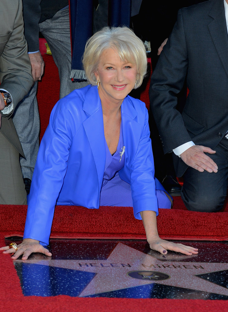 . Actress Helen Mirren,  Honored On The Hollywood Walk Of Fame with her own star on January 3, 2013 in Hollywood, California.  (Photo by Frazer Harrison/Getty Images)