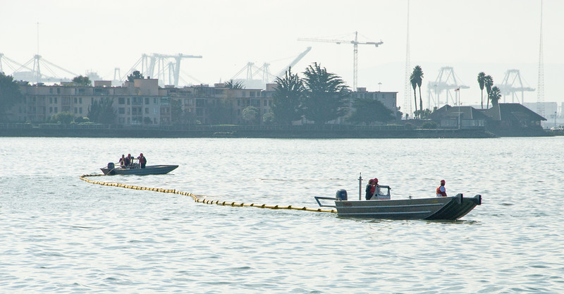 Setting booms off Emeryville.