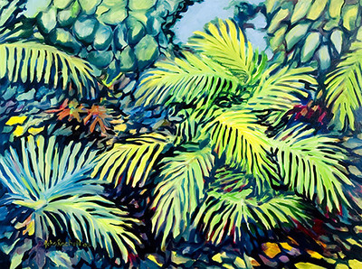 """©John Rachell Title:Garden Series, April 15, 2005 Image Size: 36""""d X 48""""w Dated: 2005 Medium & Support: Oil paint on canvas Signed: LL Signature"""