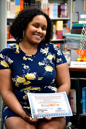 6/27/2019 Mike Orazzi | Staff Bristol Adult Education Workforce graduate Nadia Rivera is all smiles after Thursday's' ceremony.