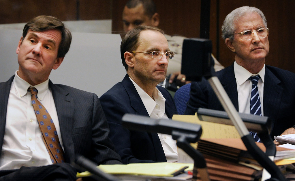 ". Attorneys R. Bradford (Brad) Bailey, and Jerffrey Denner with their client Christian Gehartsreiter who is on trial for murder. The murder trial of Christian Gerhartsreiter, 52,  known as ""Clark\"" Rockefeller, second day at trial at Clara Shortridge Fortz Criminal Justice Center in Los Angeles on Tuesday, March 19, 2013.  Gerhartsreiter is a German immigrant who masqueraded as a member of the Rockefeller family. He is charged with murder of John Sohus, 27, whose bones were unearthed from the backyard of the home in San Marino, California, in 1985.  Sohus\' wife, Linda, has never been found. (SGVN/Photo by Walt Mancini/LANG)"