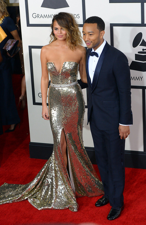 . Christine Teigen and John Legend arrive at the 56th Annual GRAMMY Awards at Staples Center in Los Angeles, California on Sunday January 26, 2014 (Photo by David Crane / Los Angeles Daily News)