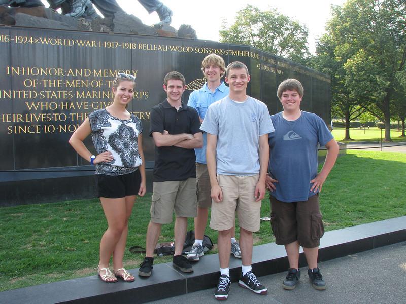 Whitney, Chris, Luke, Nick and Dan in front of the Iwo Jima statue