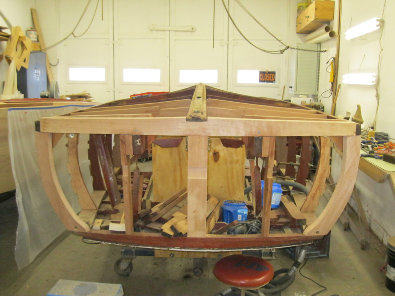 Another view of transom with new bottom frame, reatr corners and transom framing installed.