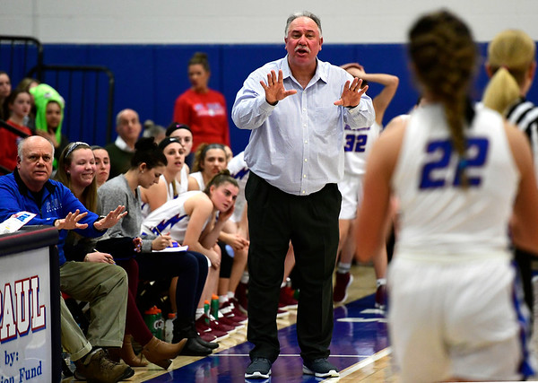 3/5/2019 Mike Orazzi | Staff St. Paul Catholic High School's Joe Mone during the Class S Quarterfinals Girls Basketball Game Tuesday night in Bristol.