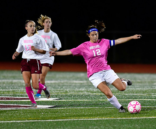 11/5/2019 Mike Orazzi | StaffrBristol Eastern's Leah Policarpio (12) during girls soccer at BC Tuesday night. r