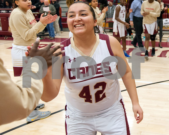 12/29/17 Wesley Bunnell | Staff New Britain basketball was defeated by visiting Wilbur Cross 56-28 on Friday evening at New Britain High School. Gabby Roy (42) during introductions.