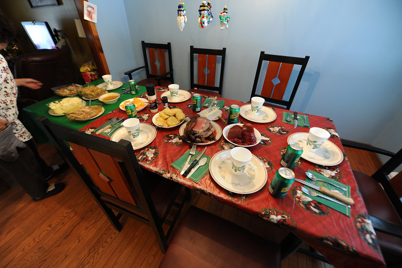 Christmas feast. I cut the roast beef with an electric knife, my first time using one. Cut it like butter.