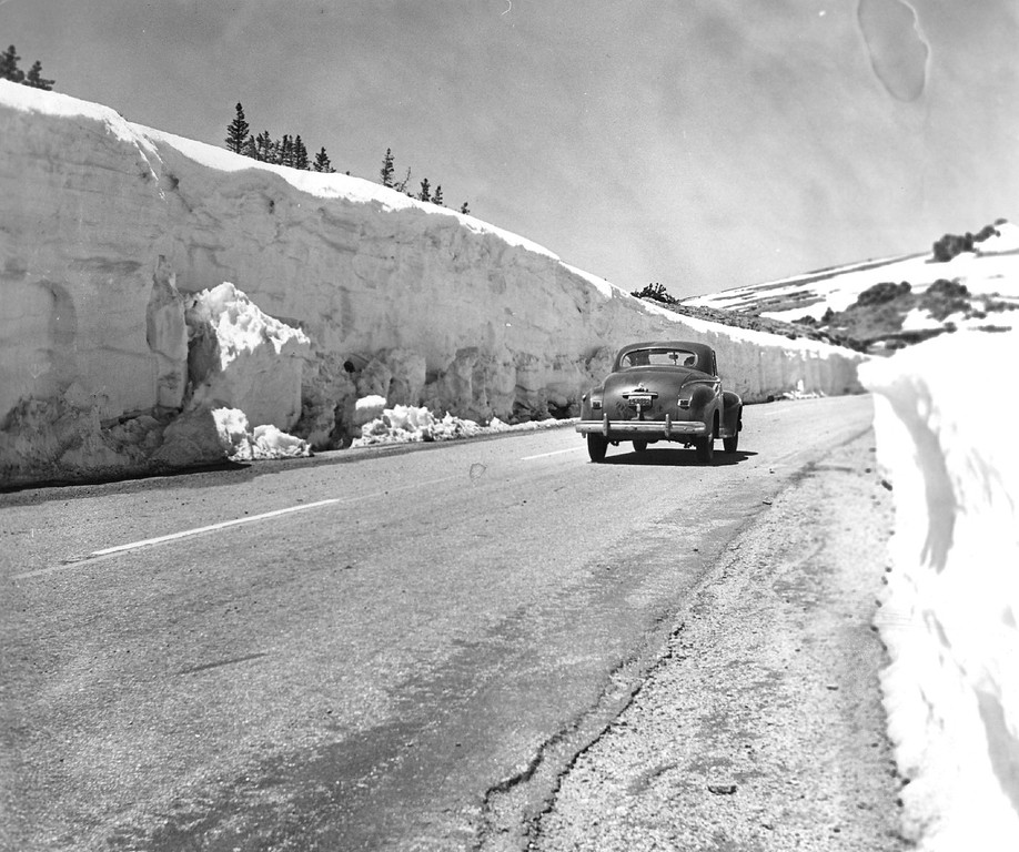 . It was warm in Denver-but not in the Rocky Mountain National park high country in 1953. Here�s scene at the Trail Ridge opening, showing some of the snowdrifts, ranging up to twenty-five feet in depth. (Denver Post Library photo archive)