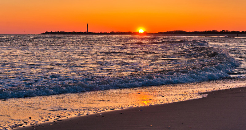 Beach and Cape May Point Lighthouse at Sunsrt, Cape May, New Jersey