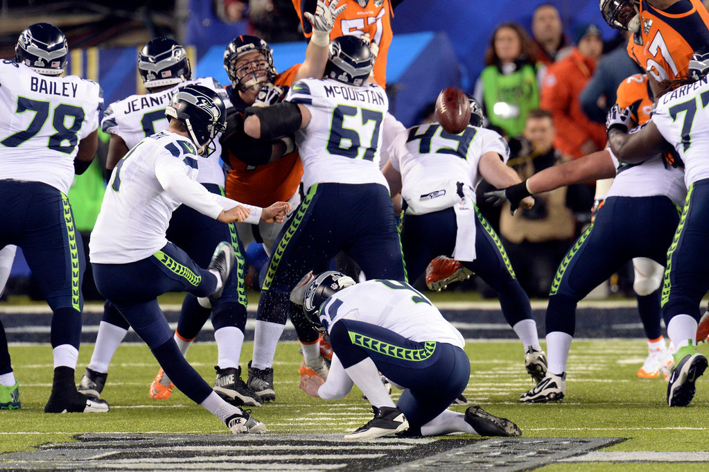. Seattle Seahawks kicker Steven Hauschka (4) kicks a Seahawks field goal in the first quarter.  The Denver Broncos vs the Seattle Seahawks in Super Bowl XLVIII at MetLife Stadium in East Rutherford, New Jersey Sunday, February 2, 2014. (Photo by Hyoung Chang//The Denver Post)