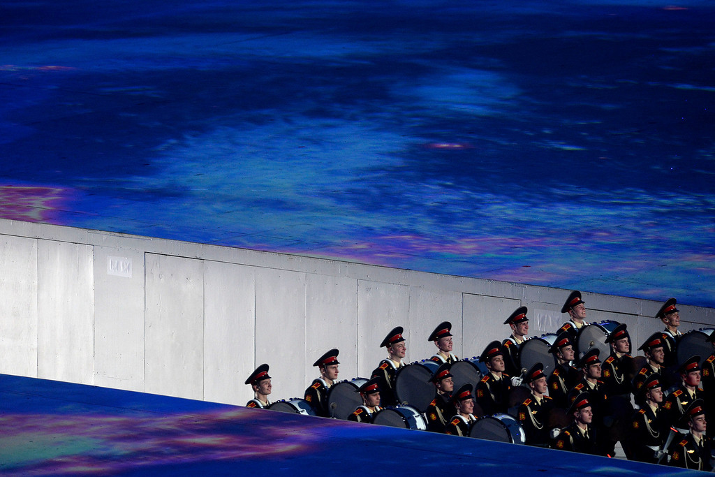 . The Moscow University marching band enters the stadium from an underground tunnel during closing ceremony for the Sochi 2014 Winter Olympics. Sochi 2014 Winter Olympics on Sunday, February 23, 2014 at Fisht Olympic Stadium. (Photo by AAron Ontiveroz/ The Denver Post)