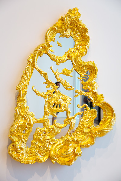 "Another Jeff Koons -- his 1988 gilded mirror, titled, ""Christ and the Lamb"""