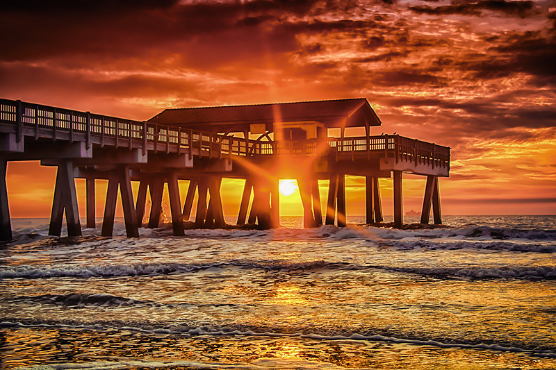 """Sunset under The Pier"" Tybee Island, GA"