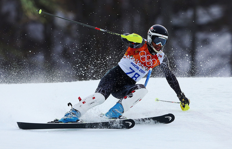 . Mohammad Kiyadarbandsari of Iran in action during the Men\'s Slalom during day 15 of the Sochi 2014 Winter Olympics at Rosa Khutor Alpine Center on February 22, 2014 in Sochi, Russia.  (Photo by Alexander Hassenstein/Getty Images)