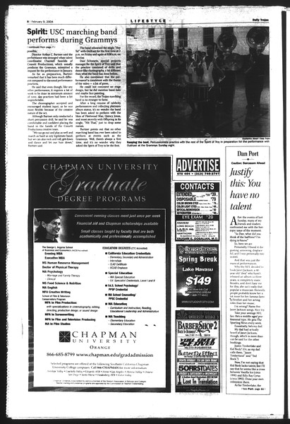Daily Trojan, Vol. 151, No. 18, February 09, 2004