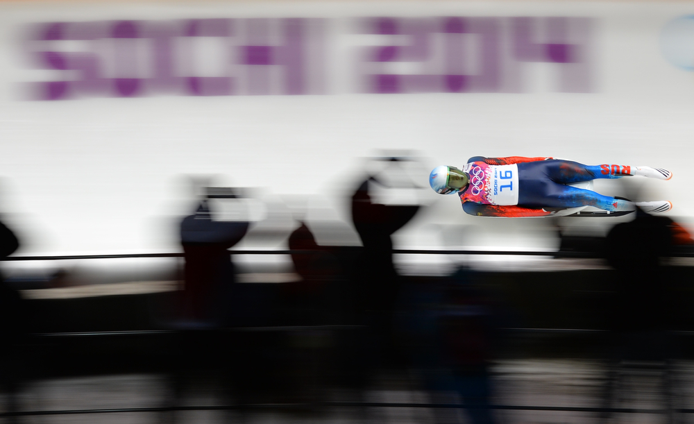 . Russia\'s Aleksander Peretyagin competes in the Men\'s Luge Singles Run at the Sliding Center Sanki during the Sochi Winter Olympics on February 8, 2014. (LEON NEAL/AFP/Getty Images)